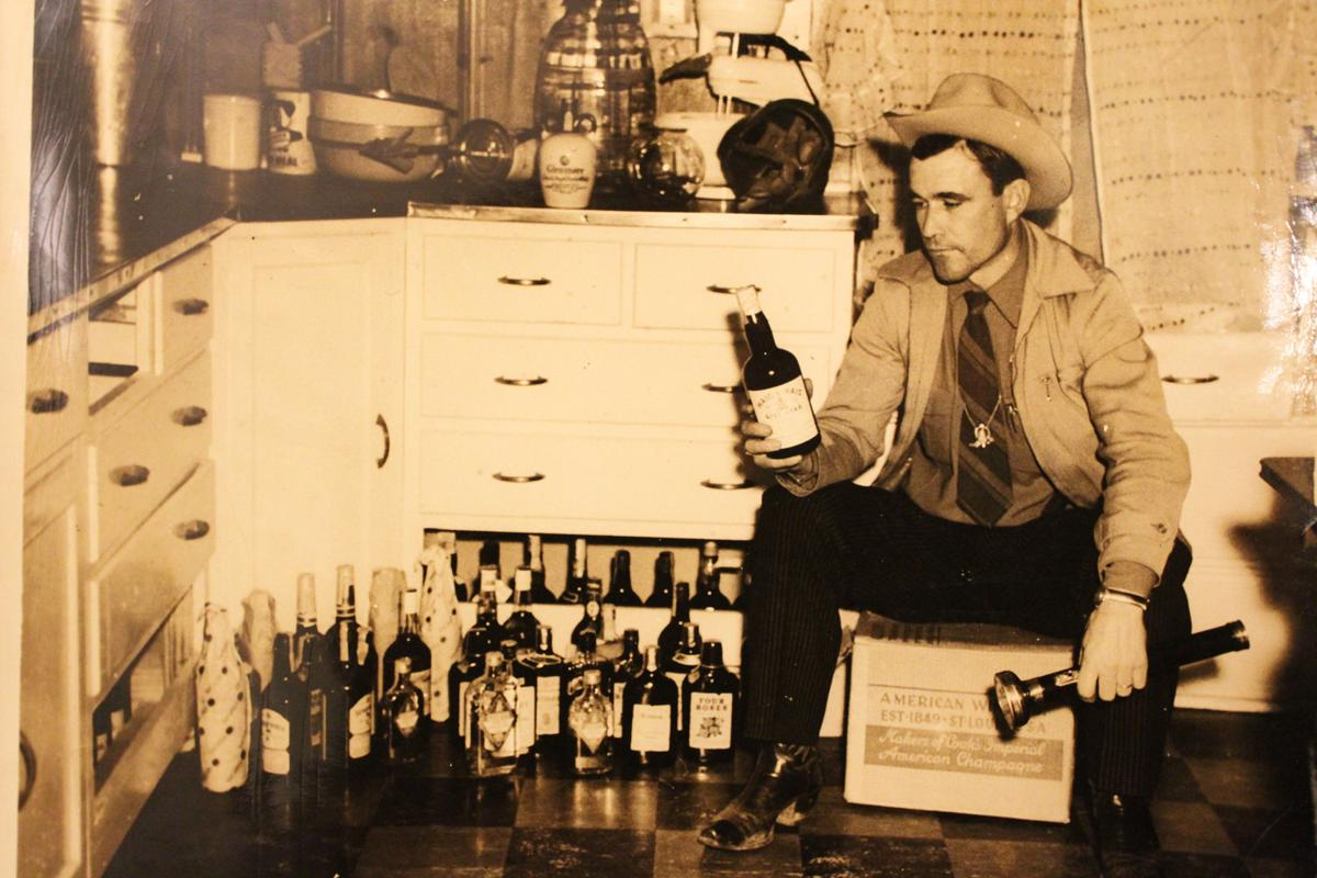 Former Sheriff Amos G Ward pictured after discovering bootlegged alcohol